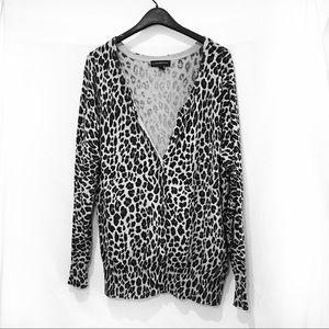 Snow leopard print cardigan plus size